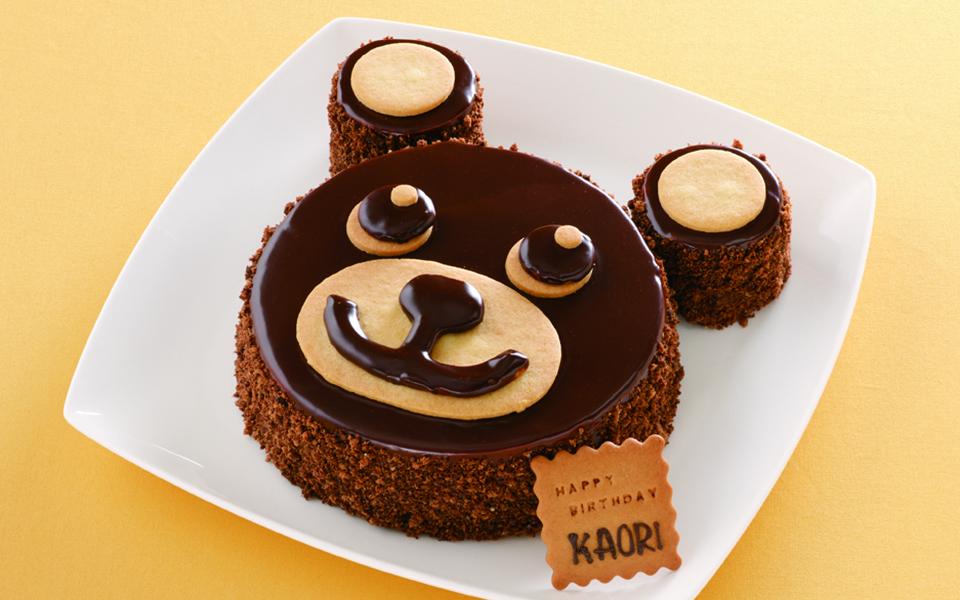 くまの誕生日ケーキの画像