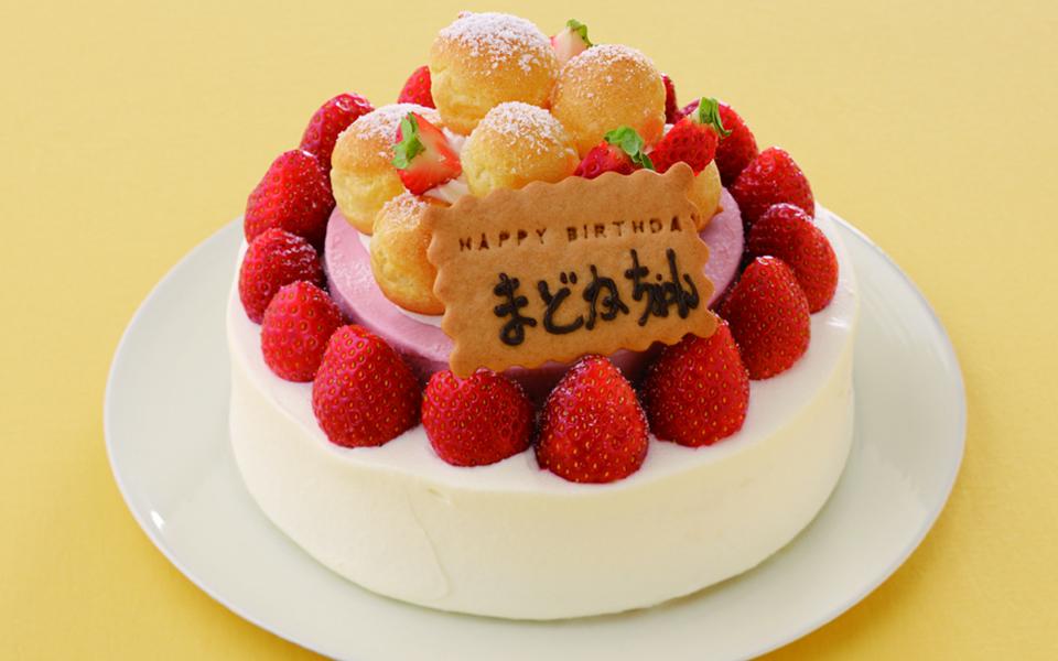 いちご2層の誕生日ケーキの画像