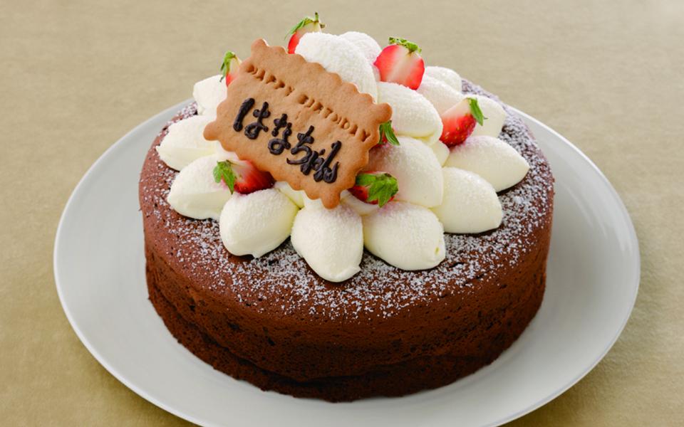 ガトーショコラの誕生日ケーキの画像