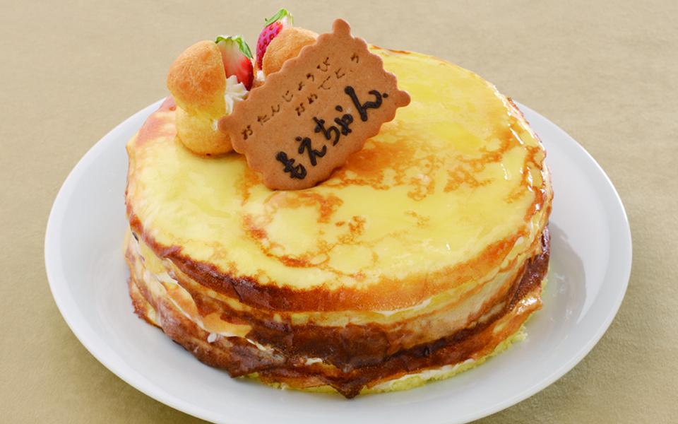 ミルクレープの誕生日ケーキの画像