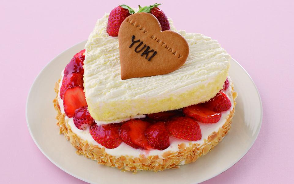 ハートフレーズの誕生日ケーキの画像